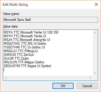 在英文Windows 10上,如此设置Microsoft Sans Serif字体的fontlink可以完美显示中文。