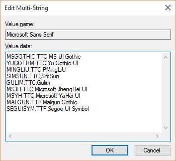 Windows 10 English系统中,对应于Microsoft Sans Serif字体的缺省fontlink设置。
