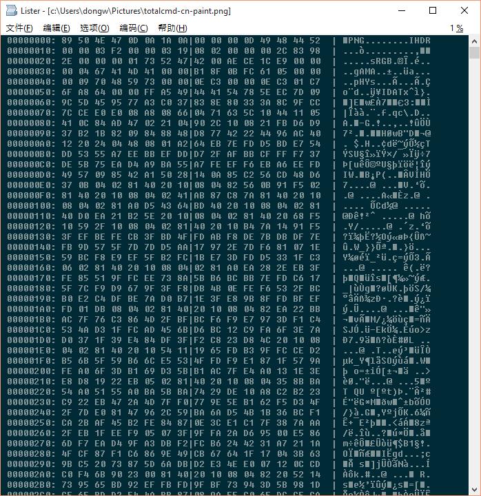 以十六进制方式查看一个PNG图形文件